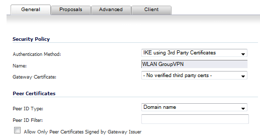 vpn policy general tab ike 3rd party certif - No Vpn Policy For Peer Gateway
