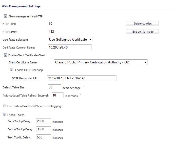 Web Management Settings