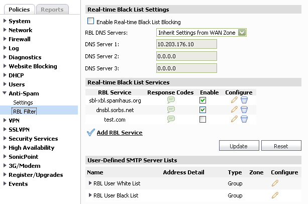 Configuring Anti-Spam Real-Time Black List Filtering