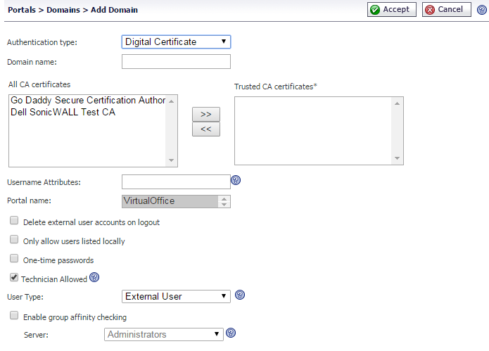 Adding or Editing a Domain with Digital Certificates