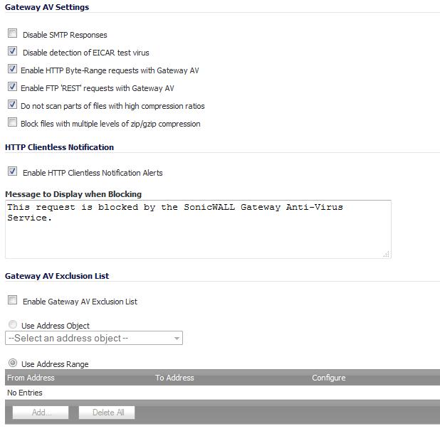 Configuring Gateway AV Settings