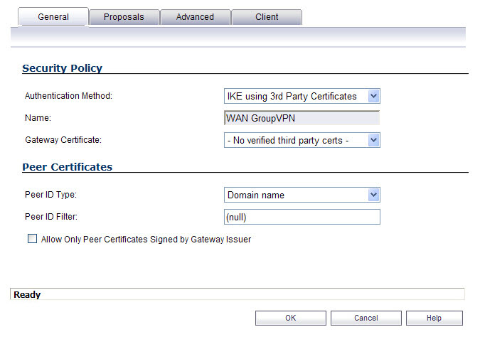 group vpn policy dialog general 3rd party certs - No Vpn Policy For Peer Gateway