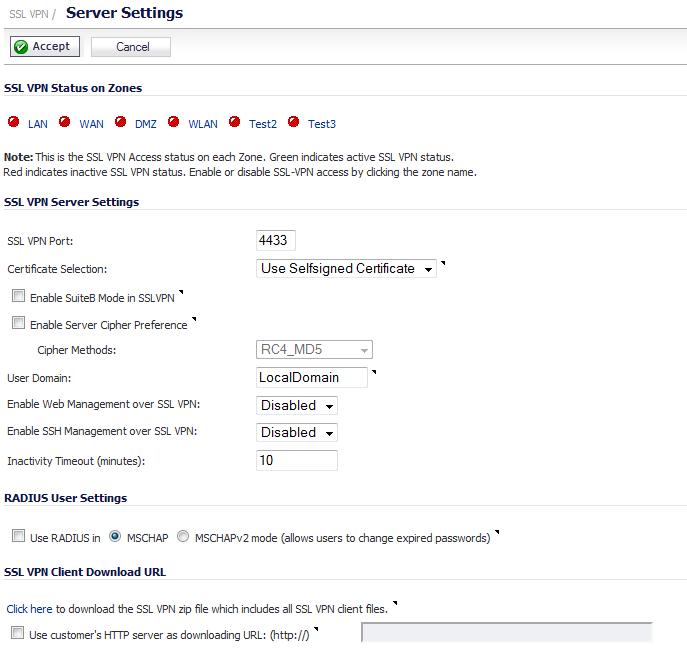 SSL VPN > Server Settings