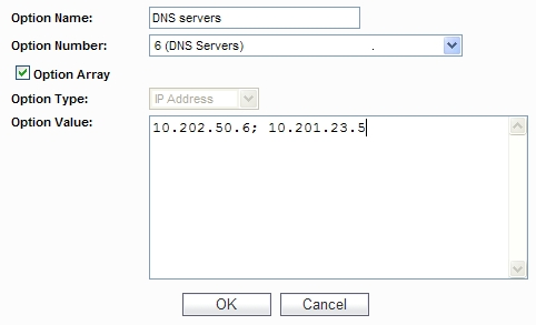 Configuring DHCP Option Objects
